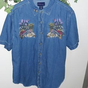 Beautifully Embroidered Denim cat shirt 20